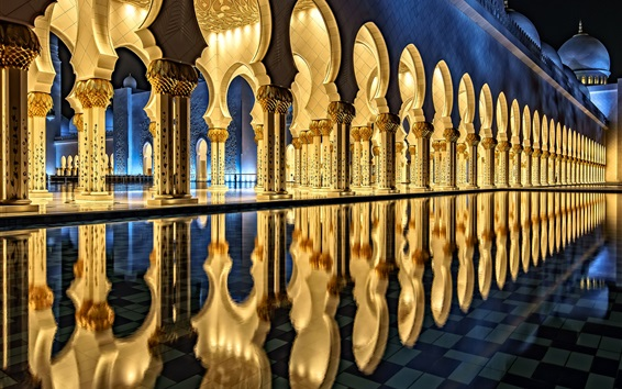Wallpaper Sheikh Zayed Grand Mosque, Abu Dhabi, architecture, night, light