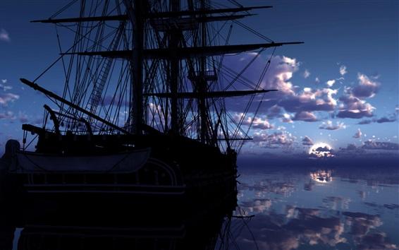 Fondos de pantalla Barco, mar, nubes, agua, reflexión, amanecer
