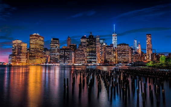 Wallpaper Skyscrapers, lights, night, city, river, New York, Lower Manhattan, USA