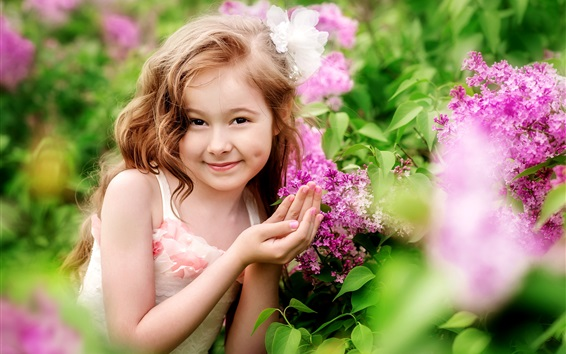 Wallpaper Smile girl, child, flowers