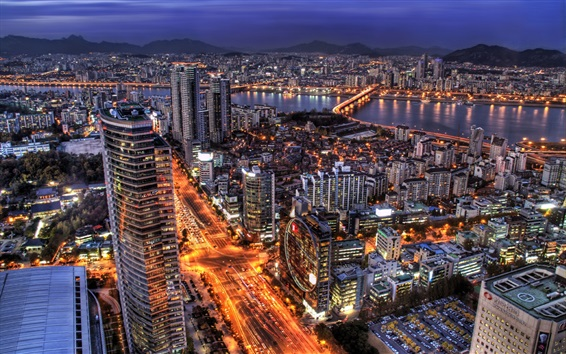 Papéis de Parede Coréia do Sul, Seul, noite da cidade, arranha-céus, luzes