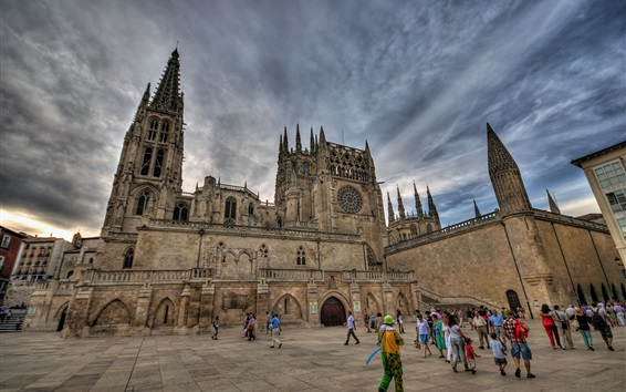 Wallpaper Spain, Burgos, cathedral, tower, people, clouds