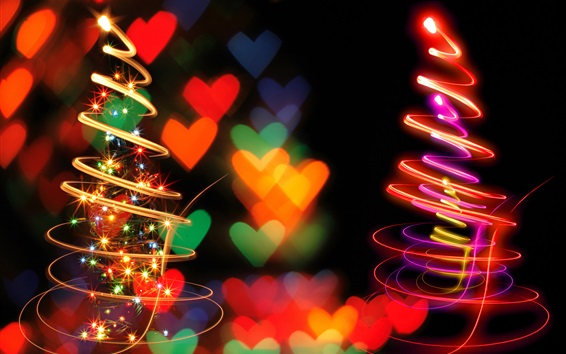 Wallpaper Spiral light Christmas trees, beautiful picture