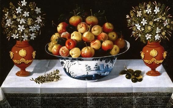 Wallpaper Still life, fruit and flowers, vase, art painting