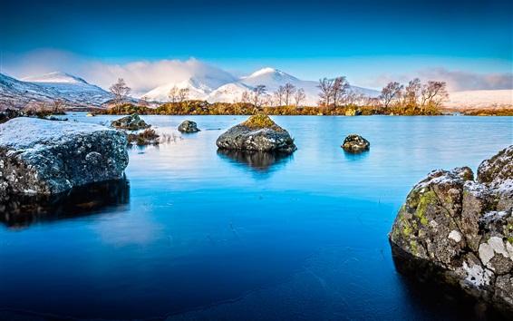 Fond d'écran Pierres, lac, montagnes, neige, arbres, hiver