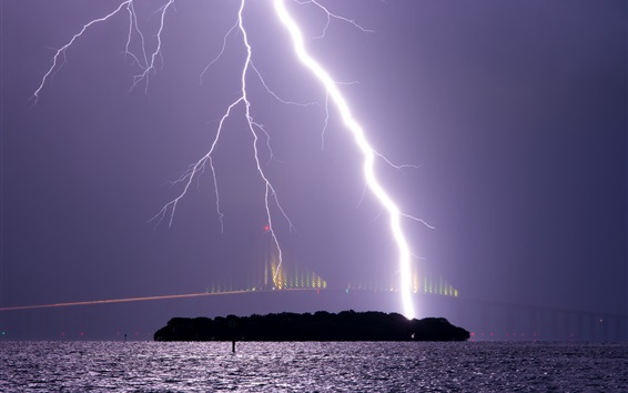 Wallpaper Storm, night, sky, lightning, bridge, river