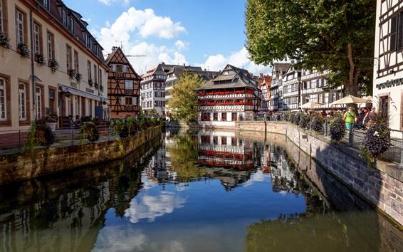Wallpaper Strasbourg, France, houses, river, trees