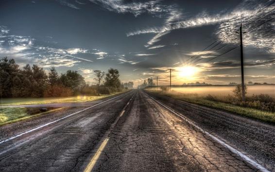 Wallpaper Sunrise road, trees, power lines