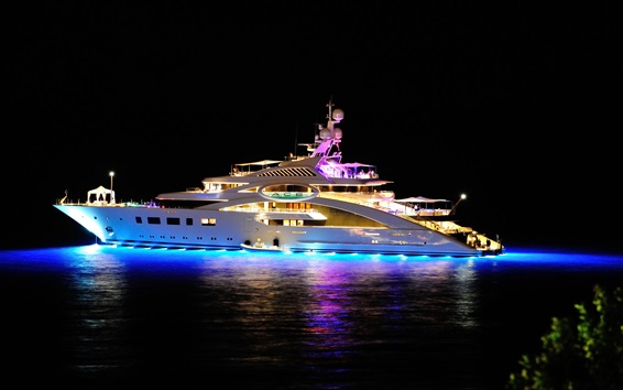 Wallpaper Superyacht at night