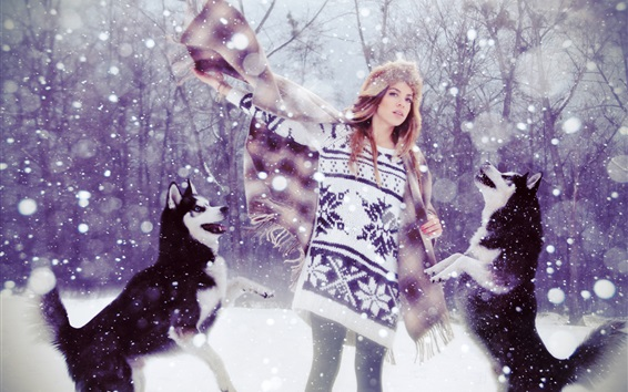 Wallpaper Sweater girl and dogs in snow winter
