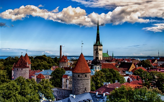 Wallpaper Tallinn, Estonia, city, tower, houses, clouds