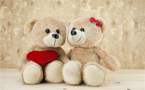 Wallpaper Teddy bears, romantic, love heart