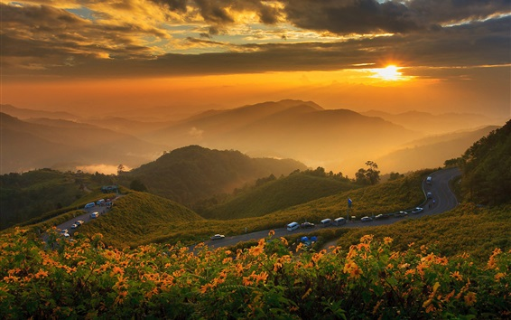 Wallpaper Thailand, mountains, dawn, clouds, sunrise, fog, road, cars