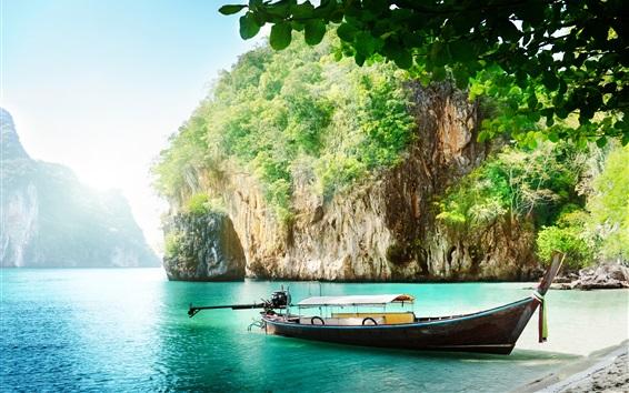 Wallpaper Thailand scenery, coast, sea, boat, cliff, leaves, sunshine