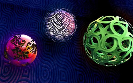 Wallpaper Three balls, braiding, 3D design