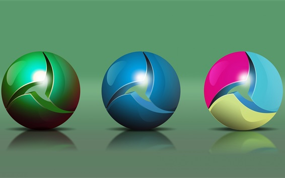 Wallpaper Three colorful balls, abstract design