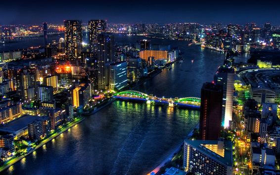 Wallpaper Tokyo, Japan, city night, skyscrapers, buildings, river, bridge, lights