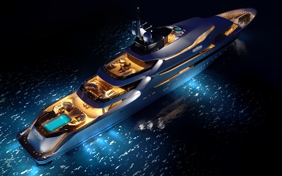 Wallpaper Top view the superyacht, night, lights