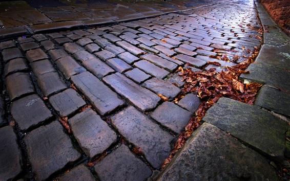 Wallpaper Town, street, stones road, autumn