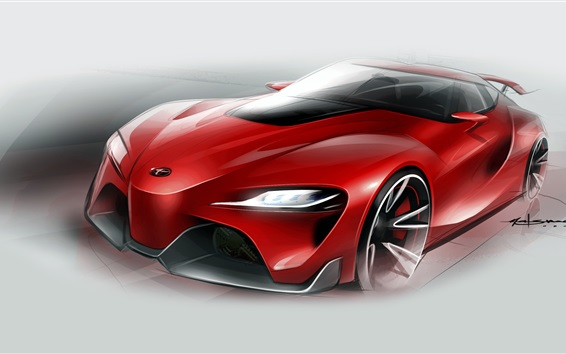 Wallpaper Toyota FT-1 red supercar figure