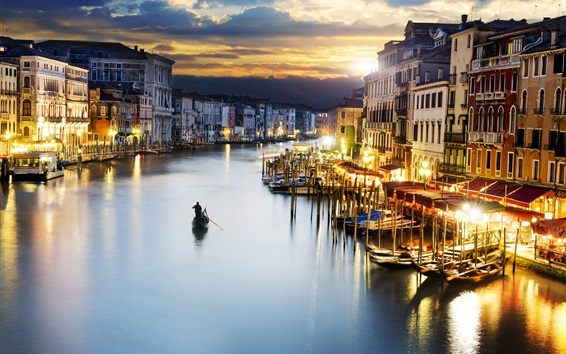 Wallpaper Travel to Venice, canal, boats, houses, lights, dusk, Italy
