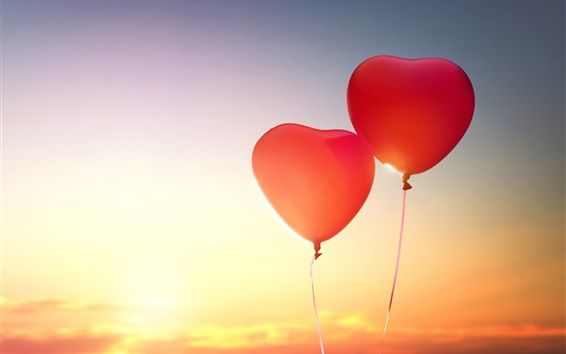 Wallpaper Two love heart shaped balloons in sky