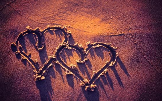 Обои Две любви сердца, пляж, закат