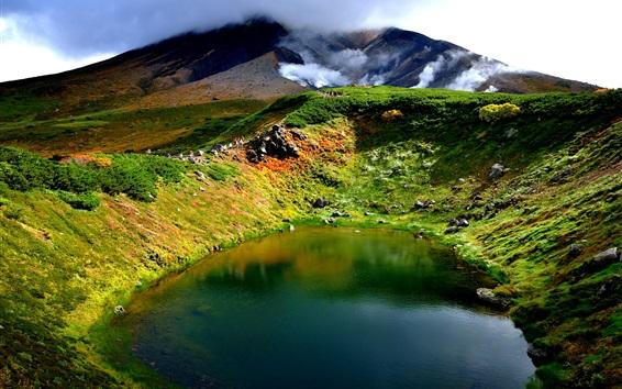 Wallpaper Volcano, lake, mountain, smoke, Hokkaido, Japan