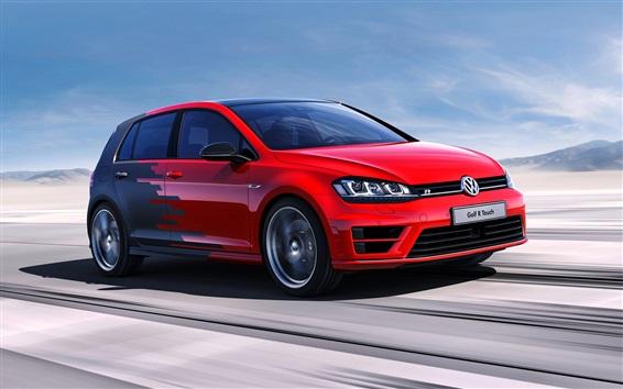 Wallpaper Volkswagen Golf R concept red car speed