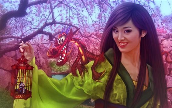 Wallpaper Walt Disney, fantasy Chinese girl, Mulan, dragon