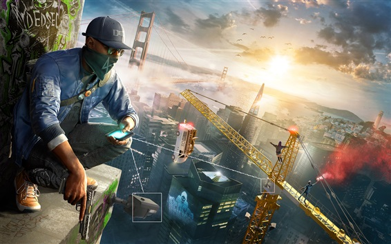 Wallpaper Watch Dogs 2, PC games, city, bridge