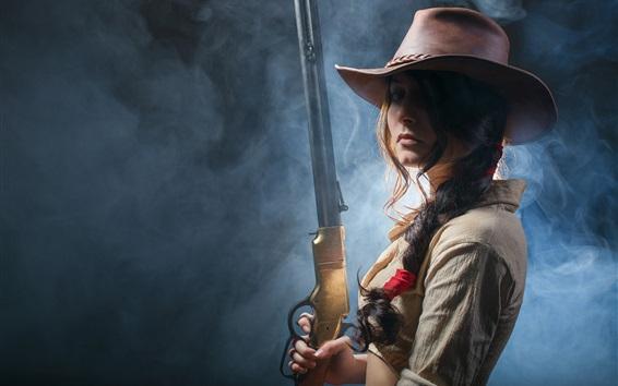 Wallpaper Wild west girl, rifle in hands, cowboy hat