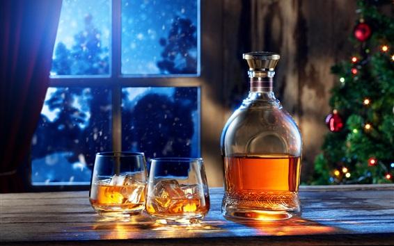 桌布 窗口,夜,瓶,威士忌酒,玻璃杯子,飲料,冰塊,聖誕節