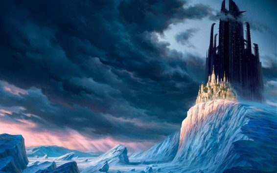 Wallpaper Winter, mountains, snow, ice, clouds, castle, city, skyscrapers, fantasy world