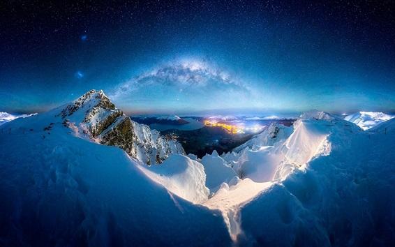 Fond d'écran Hiver, neige, montagnes, nuit, laiteux, manière, étoiles