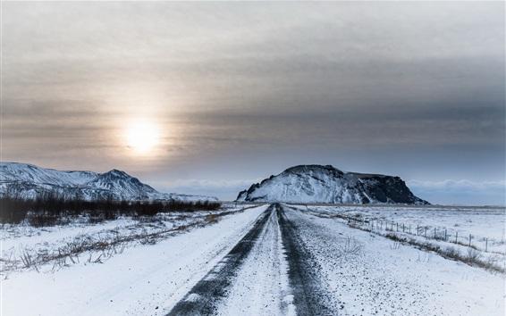 Wallpaper Winter, snow, road, sky, sunset, dusk