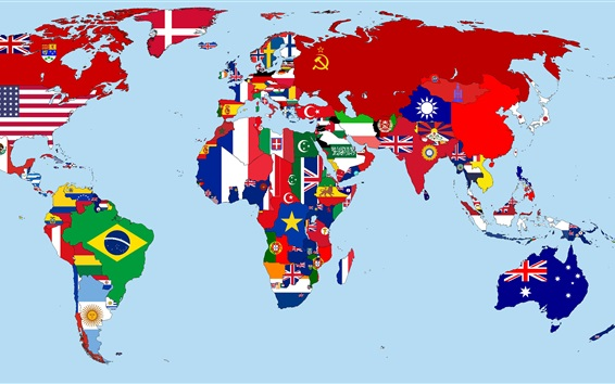 Wallpaper World Map in 1930, flags, countries