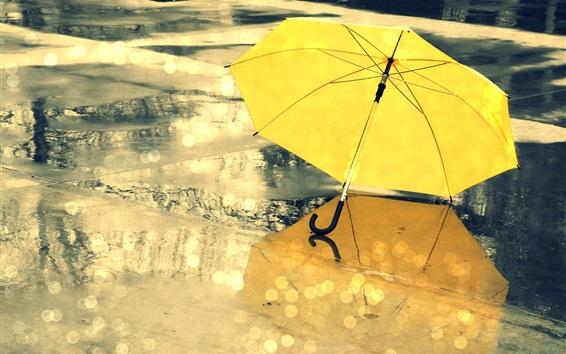 Wallpaper Yellow umbrella, street, rain