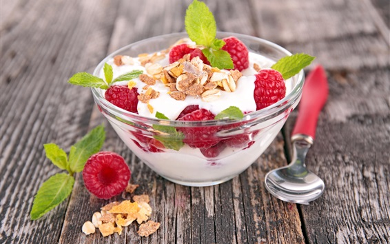 Wallpaper Yogurt, dessert, berries, raspberry, sweet food