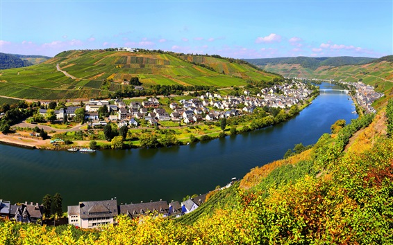 Wallpaper Zell town, Germany, river, houses, fields