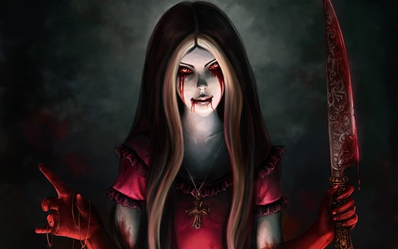 Wallpaper Alice Madness Returns, blood, knife