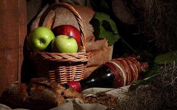 Fondos de pantalla Manzanas, cesta, vino