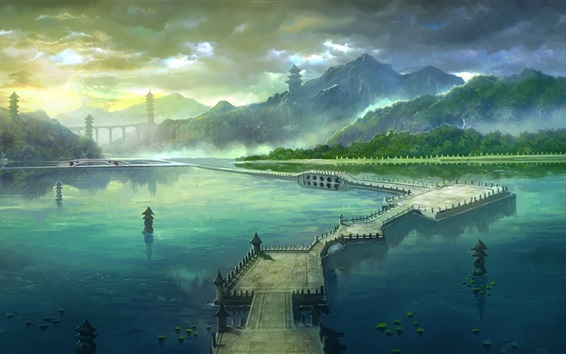 Wallpaper Art painting, park, mountains, bridge, lake, clouds, towers
