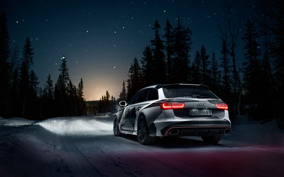 Wallpaper Audi RS6 car rear view, winter, snow, night