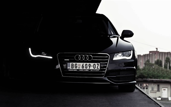 Wallpaper Audi black car front view