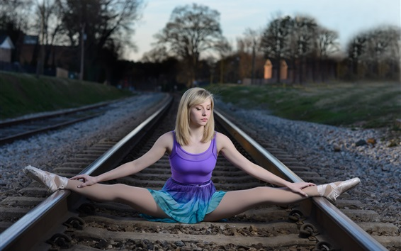 Wallpaper Ballerina, railroad, blonde girl, pose