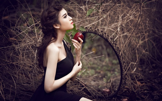 Wallpaper Beautiful black dress girl, hands, apple