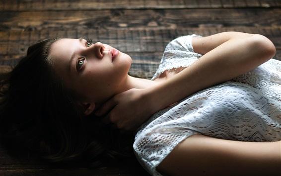 Wallpaper Beautiful girl lying on floor, white dress