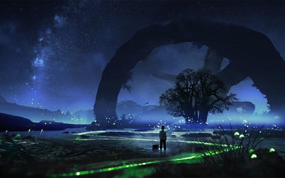 Fond d'écran Belle nuit, arbres, étoiles, lucioles, garçon, ciel, images d'art