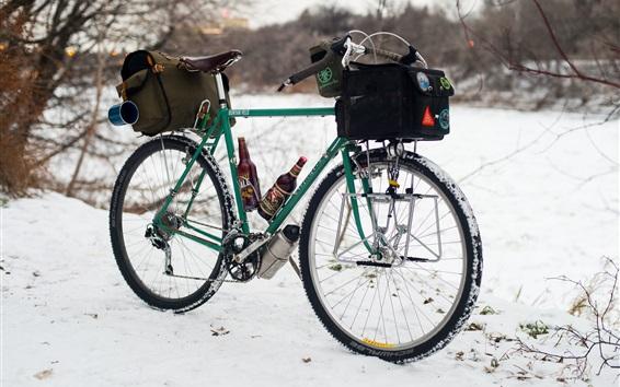 Fond d'écran Vélo, hiver, neige, vin, sac